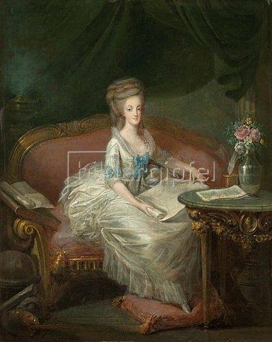 Louis-Charles Gautier d'Agoty: Porträt von Marie Antoinette, auf einem Sofa sitzend.