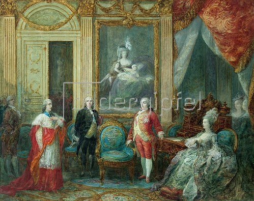 Joseph Navlet: Ludwig XVI und seine Frau Marie Antoinette empfangen einen Kardinal.
