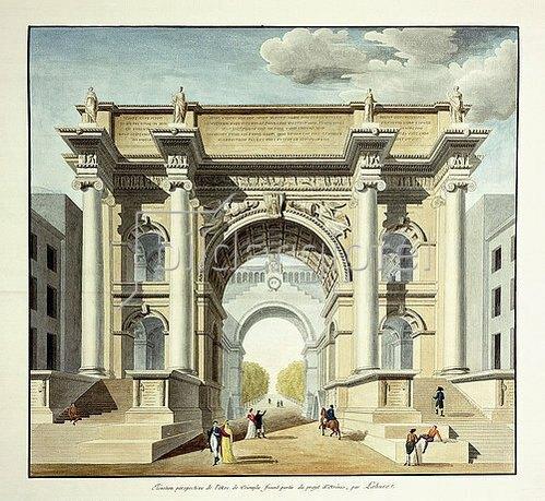 Unbekannt: L'Arc de Triomphe. Bildtafel aus dem Buch 'Projets d'architecture...' der Academie d'Architecture de France. Veröffentlicht 1806.