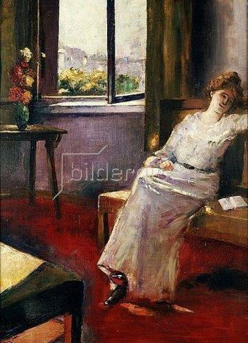 Lesser Ury: Sitzende Frau mit Buch. 1906.