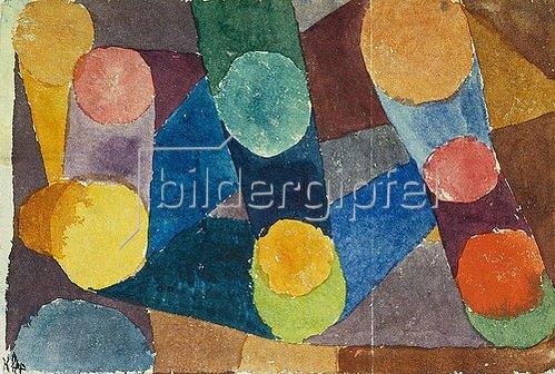 Paul Klee: Abstract, farbige Kreise durch Farbbänder verbunden. 1914, 218