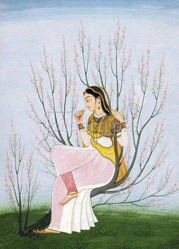 Indien: Dame auf einem Zweig. Um 1790