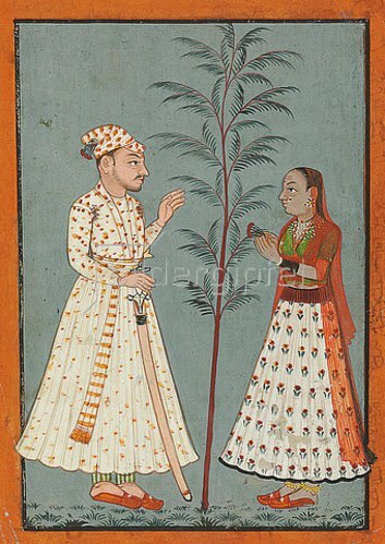 Indien: Ein Paar mit Blumen. Um 1760
