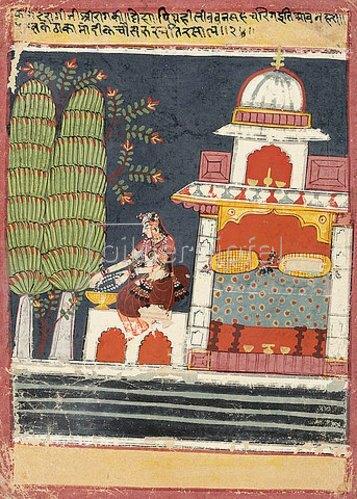 Indien: Eine Tafel aus einem Ragamala: Kamod Ragini. Um 1660