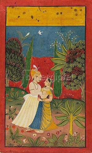Indien: Ein sich umarmendes Paar auf einer Lichtung. Mitte 18. Jh. (Der Mann trägt einen durchsichtigen Angrakha und einen orangefarbenen, mit Perlen verzierten Turban, die Frau trägt eine gelbe Choli und Lehanga mit blauem Schleier.)
