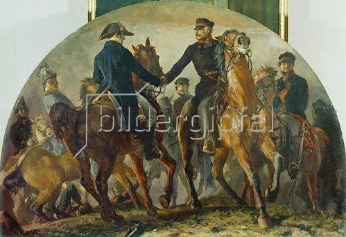 Adolph von Menzel: Blüchers Begegnung mit Wellington nach der Schlacht v. Belle-Alliance (Waterloo).