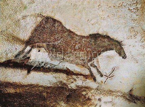 Unbekannter Künstler: Höhle von Lascaux. Linke Wand des axialen Divertikels: Galoppierendes Pferd. Ca. 17.000 v. Chr.