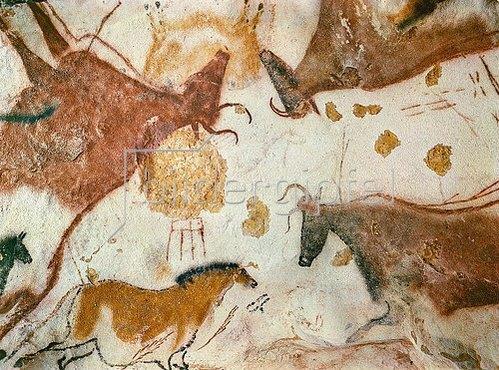 Unbekannter Künstler: Höhle von Lascaux. Decke des Divertikels: Ein Pferd und drei Kühe. 17.000 v. Chr.