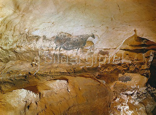 Unbekannter Künstler: Höhle von Lascaux. Schiff: Gruppe der schwarzen Kuh. Ca. 17.000 v. Chr.