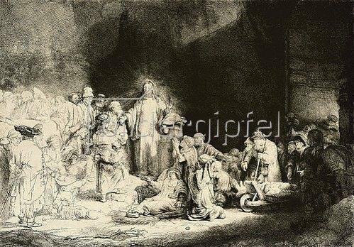 Rembrandt van Rijn: Christus heilt die Kranken. Das Hundertguldenblatt. Um 1649