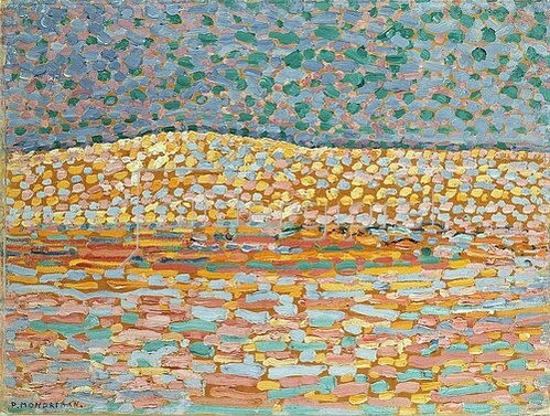 Piet Mondrian: Pointillistische Studie einer Düne, mit leichter Erhebung auf der linken Seite. 1909