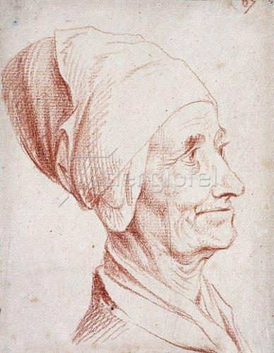 Daniel Chodowiecki: Porträt eines Mannes im Profil, möglicherweise Voltaire.