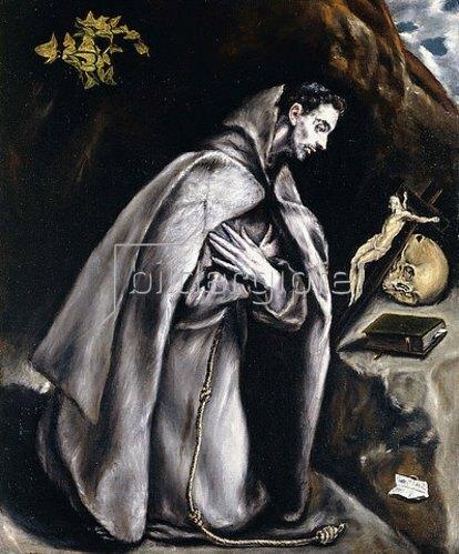 Greco El (Dominikos Theotokopoulos): Der heilige Franziskus meditierend.