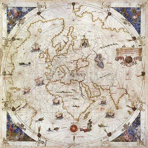 Unbekannter Künstler: Portolankarte der Welt. Venedig, 1519