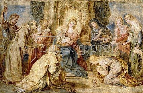 Peter Paul Rubens: Thronende Madonna mit Kind, angebetet von acht Heiligen.