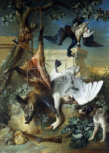 Jean-Baptiste Oudry: La Retour de Chasse: ein Jagdhund bewacht die Beute.