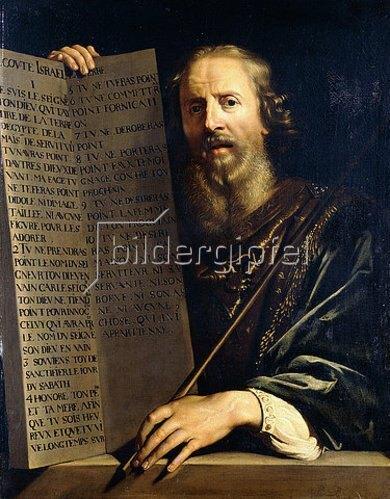 Philippe de Champaigne: Mose hält die Tafel mit den Zehn Geboten.