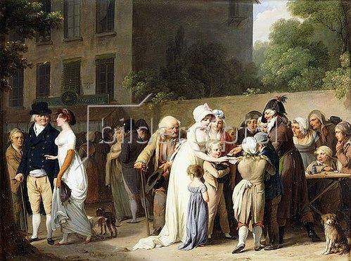 Louis-Léopold Boilly: Taschenspieler auf einem Boulevard (L' Escamoteur sur le Boulevards). 1806