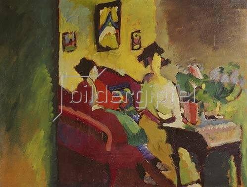 Wassily Kandinsky: Interieur. Gabriele Münter und Marianne v.Werefkin. 1910.