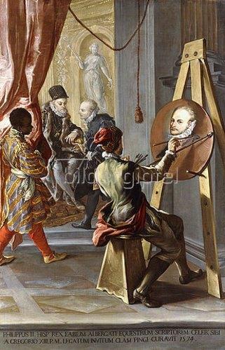 Gian Antonio Burrini: Fabio Albergati wird von Philipp II. von Spanien empfangen, während ein Künstler ihn auf Anweisung des Königs heimlich malt.