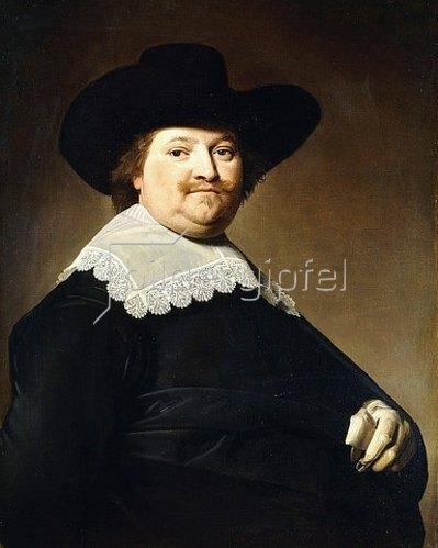 Johannes Verspronck: Porträt eines Herren in Schwarz mit einem weißen Spitzenkragen und einem schwarzen Hut.