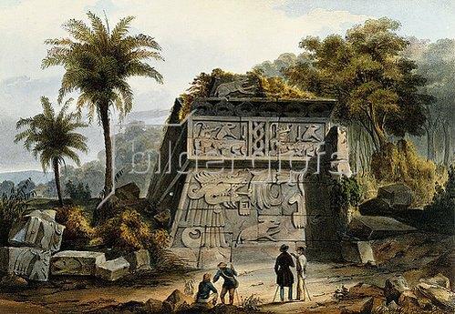 Carl (Carlos) Nebel: Ruinen der Pyramide von Xochicalco (Ruinas de la Piramide de Xochicalco), aus 'Voyage pittoresque et archéologique dans la partie la plus intéressante du Méxique'. Erschienen 1839?