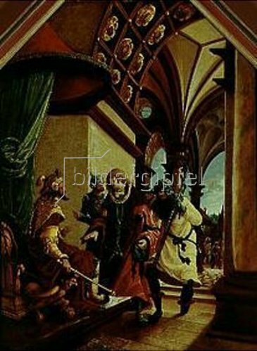 Albrecht Altdorfer: Passions/Sebastians-Altar in St.Florian Der hl.Sebastian vor dem Kaiser.
