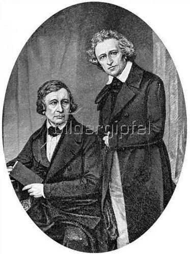 Anonym: Jakob und Wilhelm Grimm. Um 1840