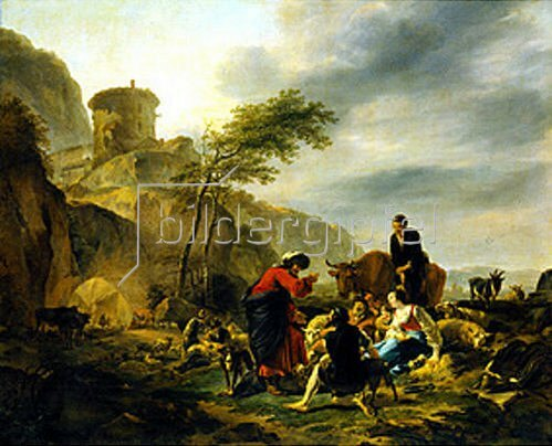 Nicolaes Berchem: Laban mit seinem Gesinde, Arbeit gebend. 1643.