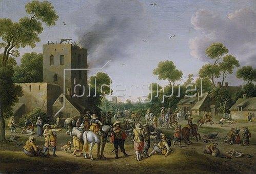 Joost Cornelisz Droochsloot: Plünderung eines Dorfes. 1635.