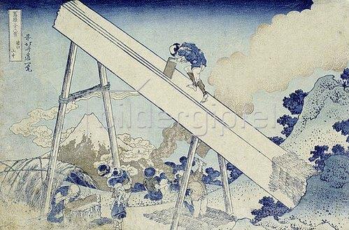 Katsushika Hokusai: In den Totomi Bergen, aus der Serie '36 Ansichten des Berges Fuji'.