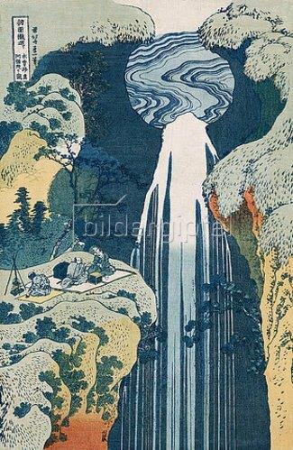 Katsushika Hokusai: Der Wasserfall von Amida an der Kiso Straße. Aus der Serie: Eine Reise zu den Wasserfällen Japans. 1834-35