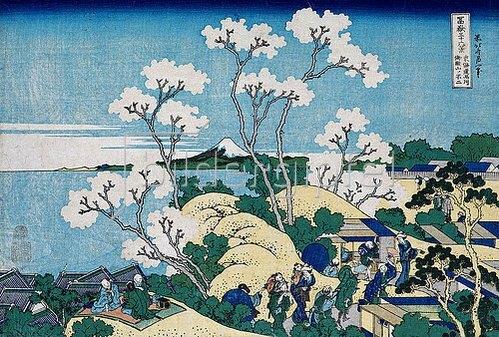 Katsushika Hokusai: Der Fuji von Gotenyama in Shinagawa von der Handesstraße Tokaido aus. Aus der Serie '36 Ansichten des Berges Fuji'. Um 1830-32
