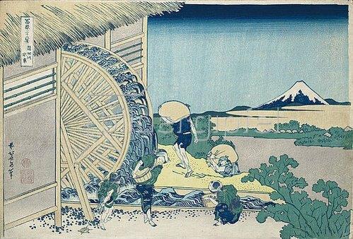 Katsushika Hokusai: Wasserrad in Onden, aus der Serie '36 Ansichten des Berges Fuji'. Um 1830-32