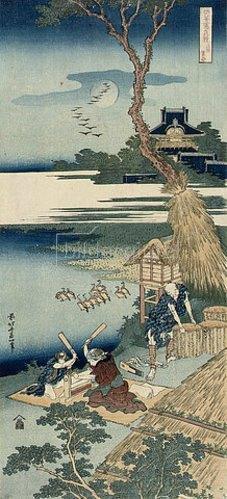 Katsushika Hokusai: Ariwara no narihira. Aus der Serien 'Shika Shashin Kyo'. (Eine Bauernfamilie schlägt im Mondlicht die Wäsche.)