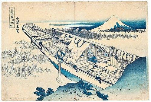 Katsushika Hokusai: Joshu Ushibori, Provinz Hitachi. Aus der Serie '36 Ansichten des Berges Fuji'. Um 1830-32