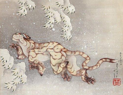 Katsushika Hokusai: Tiger in einem Schneesturm. Edo-Zeit, 1849