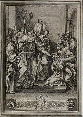 Pietro dell' Aquila: Der selige Bischof Toribius von Lima segnet die heilige Rosa von Lima. Um 1679
