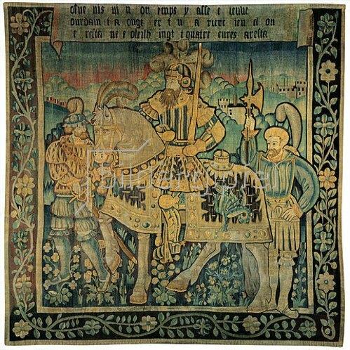 Französisch: Karl der Große zu Pferde mit Begleitern in einer Landschaft, wohl die Marche. Aus der Serie der neun Helden. 1. Hälfte 16. Jh.