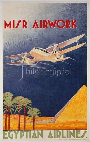 N. Strekalovsky: Werbeplakat für Misr Airlines, Cairo. Ca. 1935