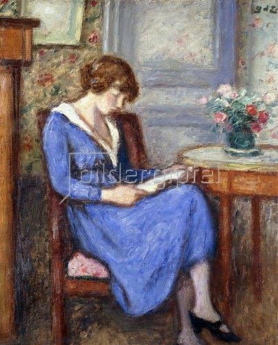 Georges d' Espagnat: Madame d'Espagnat sitzend, in einem blauen Kleid (Mme d'Espagnat Assise à la Robe Bleu).