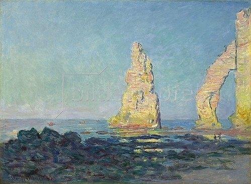 Claude Monet: Die Nadel von Etretat, Ebbe (Aiguille d'Étretat, marée basse). 1883