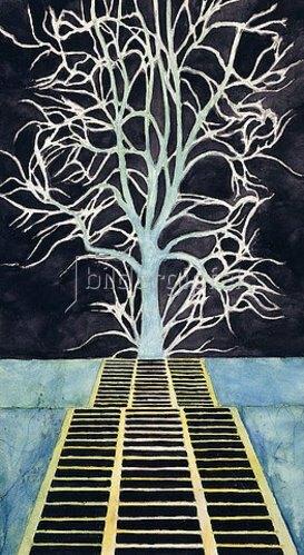 Léon Spilliaert: Der Baum am Ende der Treppe (L'Arbre au bout de l'Escalier - De boom boven aan de trap).