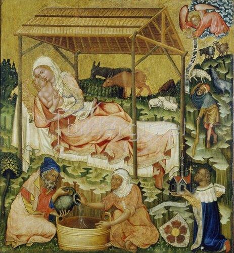 Meister des Altars von Hohenfurth: Die Geburt Christi.