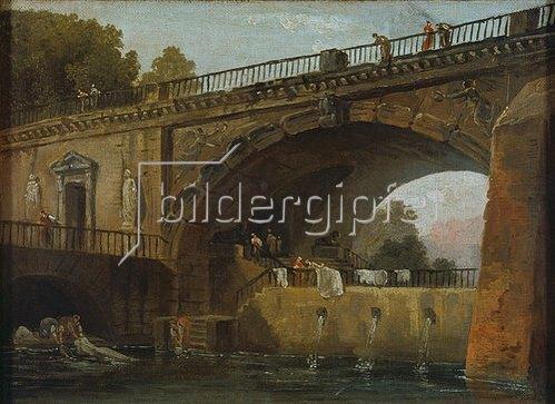 Hubert Robert: Wäscherinnen unter einem Brückenbogen.