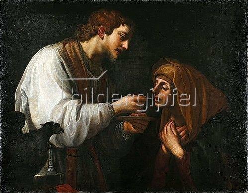 Alessandro Tiarini: Johannes reicht Maria das Abendmahl. Um 1615.