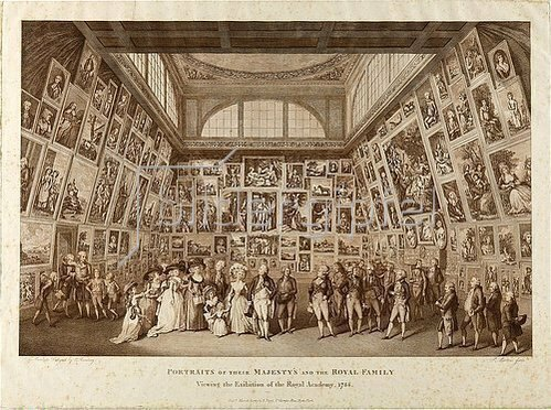 Pietro Antonio Martini: Portraits of their Majesty?s and the Royal Family viewing the Exhibition of the Royal Academy, 1788. 1789.