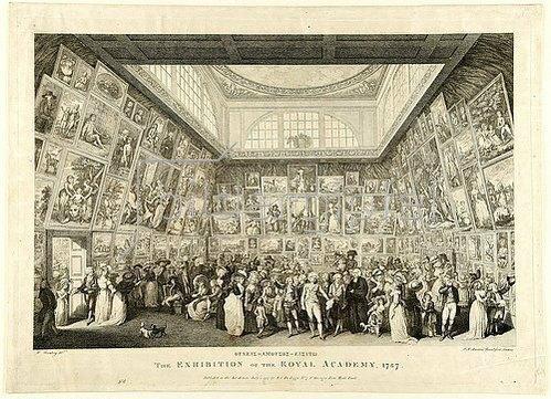 Pietro Antonio Martini: Oudeis Amousos Eisito ('Kein den Musen Fremder möge eintreten'). The Exhibition of the Royal Academy, 1787. 1787.