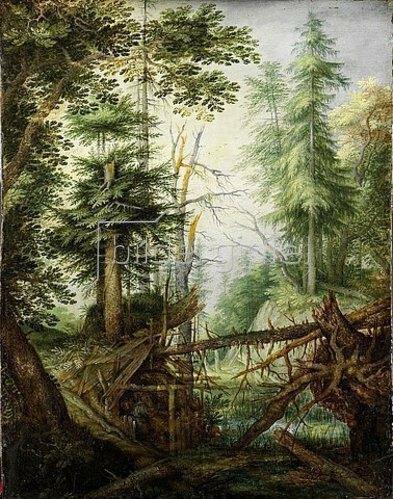 Roelant Jakobsz Savery: Waldlandschaft mit Eremit. 1608.