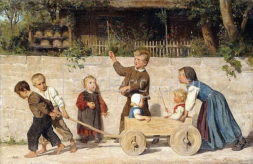 Albert Anker: Kindergespann. 1868